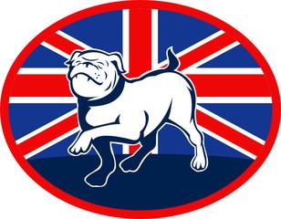 British English bulldog marching with flag