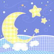 roleta: Cute baby greeting card - Moon and stars