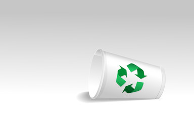 Paper cup with recycle sign
