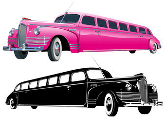 Vector long vintage limo and monochrome version