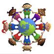 kids around globe holding hands