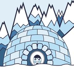 Eskimo and arctic landscape vector background