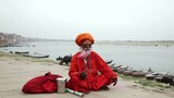 Old Sadhu at the ghats in Varanasi, India.