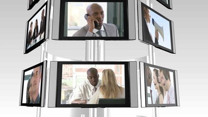 television screens showing business