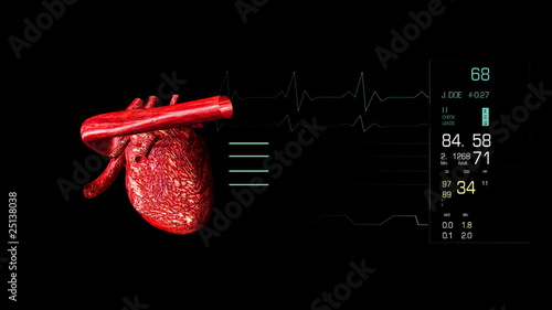 Animated 3d electrocardiogram with a heart beating