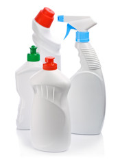 four cleaning bottles