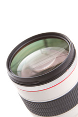Photo lens on white background