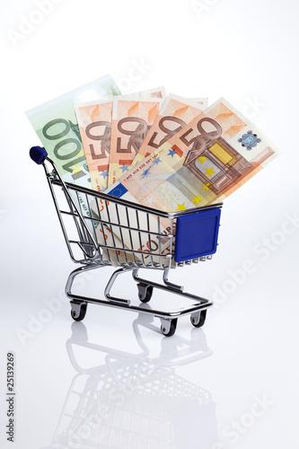 Poster Symbolbild Einkaufswagen mit Euroscheinen