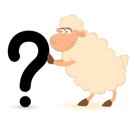 Vector cartoon sheep pushes a question-mark