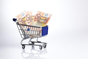 Symbolbild Einkaufswagen mit Euroscheinen