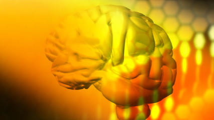 3d brain turning into a yellow space