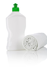 single kitchen bottle and towel