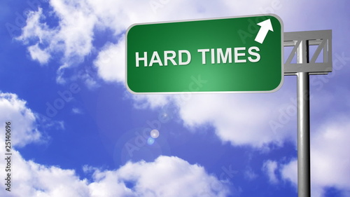 signpost showing the hard times road