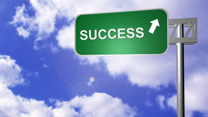 signpost on the road showing the success way