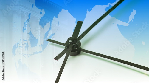 Composite Business clock with globe in background