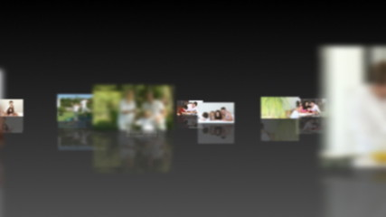montage with families portraits