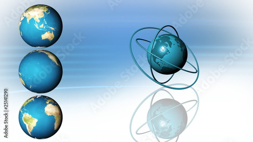 3d globes rotating in high definition