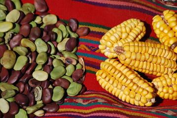Haricots et maïs dans un marché des Andes