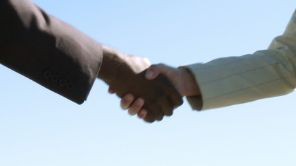 Two businesspeople shaking hands - multi cultural