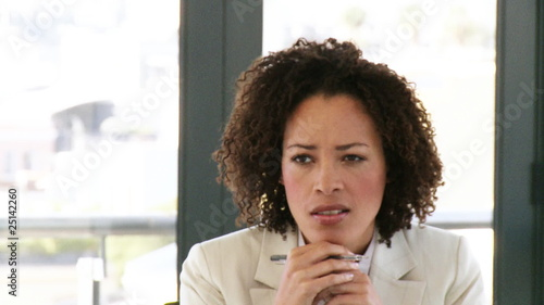 businesswoman talking during a meeting