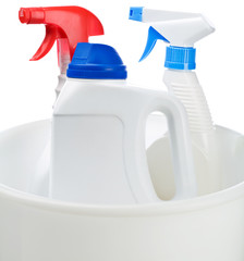 cleaning bottles in white bucket