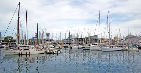 Yachts and sail boats in Barcelona harbour.