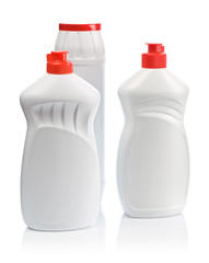 whit three bottles for clean