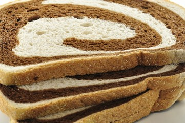 rye swirl bread close up