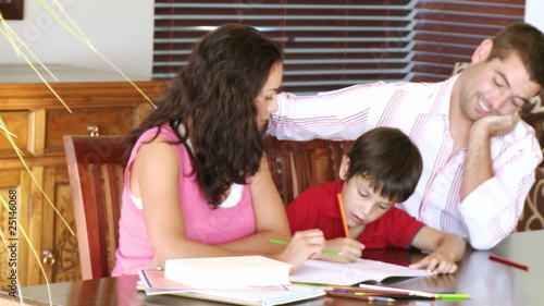Parents interested in their son homework