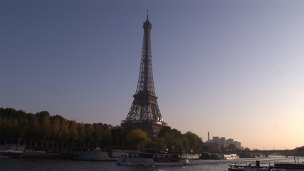 View of the Eiffel Tower from a boat on the River Seine