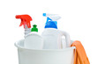 bottles for cleaning in white plastical bucket