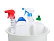 cleaning bottles in bucket