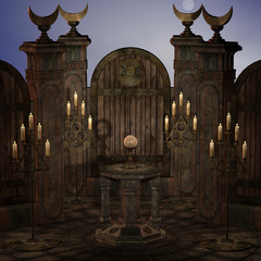 archaic altar or sanctum in a fantasy setting. 3D rendering of a