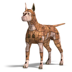 rusty scifi dog of the future.3D rendering with clipping path an