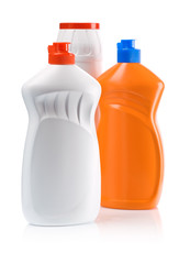 orange and white kitchen bottles