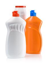 orange and white kitchen bottles