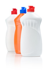row of cleaning bottles