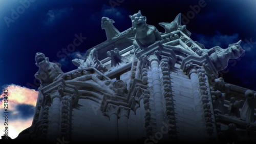 3D gargoyle animation with clouds on the background
