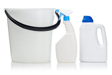 two white bottle and bucket