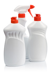 white cleaning bottles