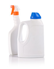 white spray and bottle for cleaning
