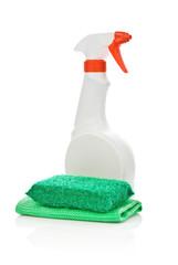 white spray and napkin and sponge
