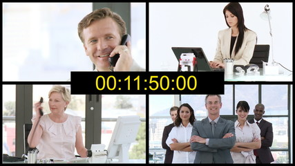 countdown with businesspeople on background