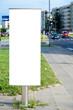 Blank vertical billboard in a city