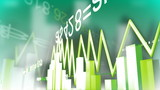 3d stock market animation against green background