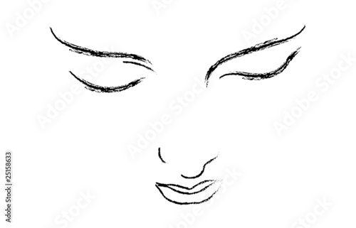 Vector drawing of a beautiful woman face