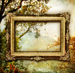 painted autumn - artwork with blank frame