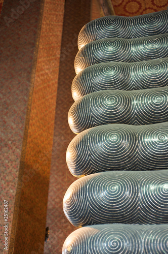 Underside of toes on reclining Buddha Wat Pho, Bangkok
