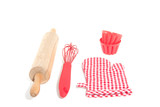 two cake molds with kitchen baking utensils isolated over white