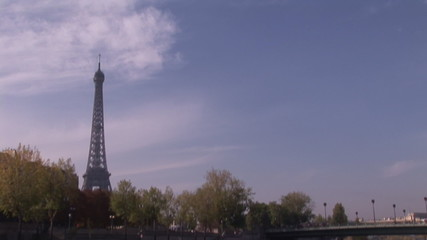 Eiffel tower view from a boat on the river Seine